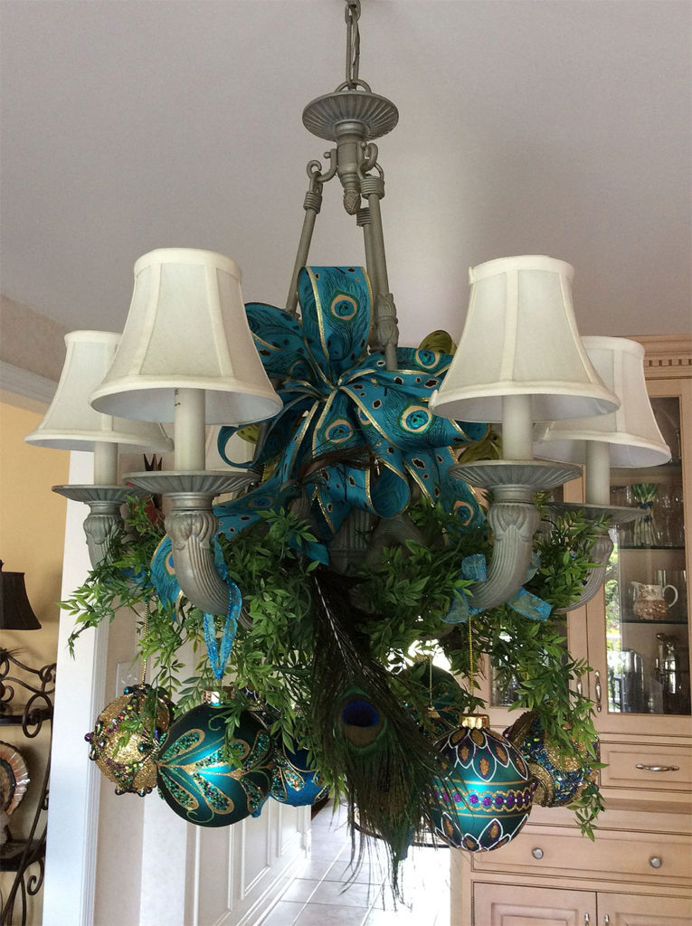 Peacock Blue French Country Christmas Chandelier