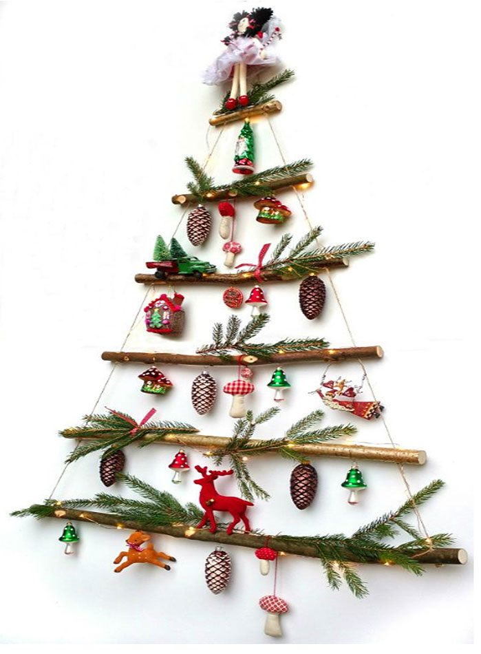 Rustic Twig Wall Mounted Christmas Tree
