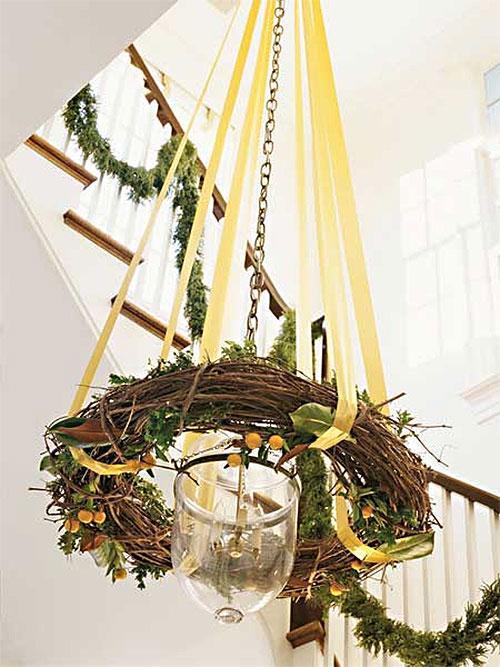 Rustic Twig Wreath Chandelier
