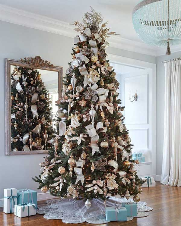 Silver and Gold Glass Christmas Tree