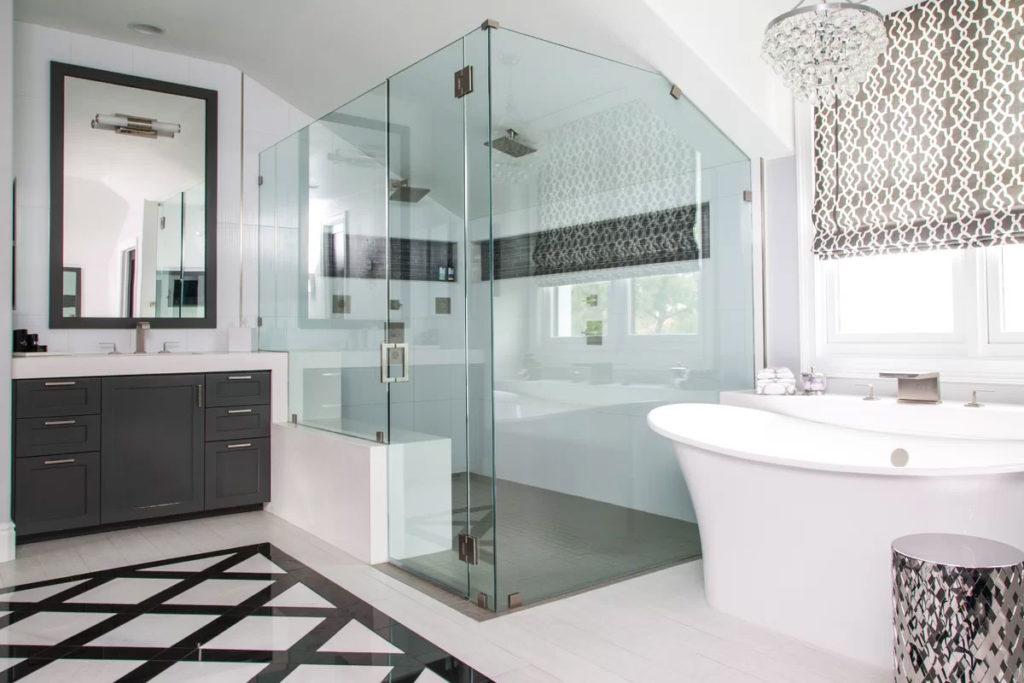 Sleek Black & White Bathroom