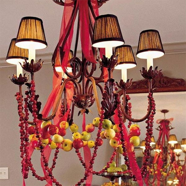 Winter Apples & Cranberry Christmas Chandelier