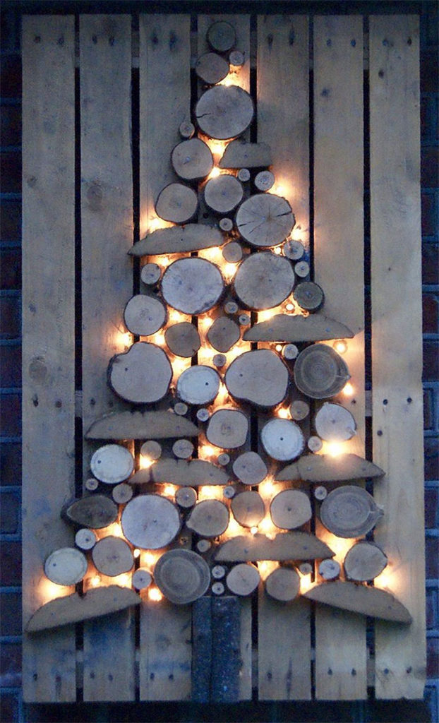 Wood on Wood Lit Christmas Tree Alternative