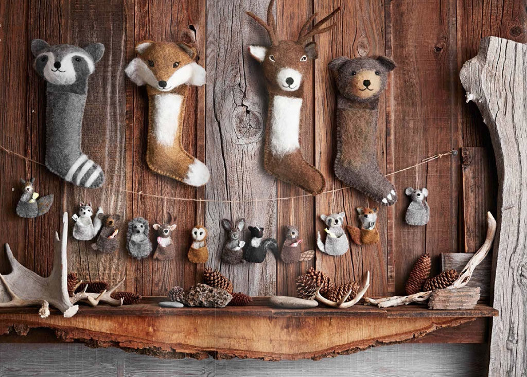 Wooly Wildlife Stockings & Pouch Ornaments design by Roost