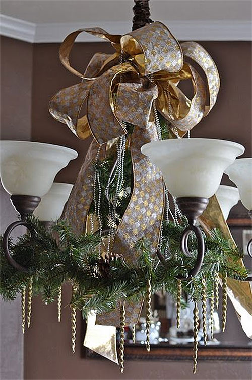 Wrap it Up in a Bow Christmas Chandelier