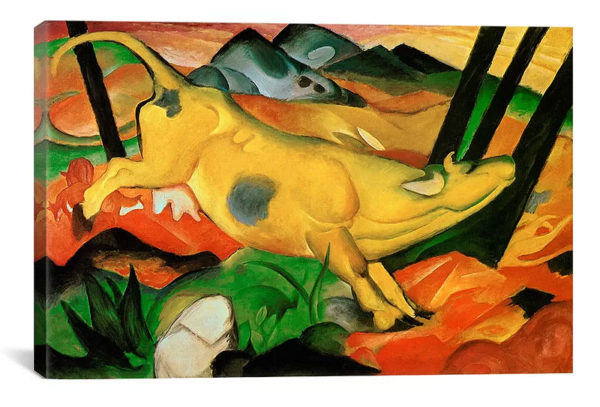 Yellow Cow by Franz Marc Art Print on Canvas