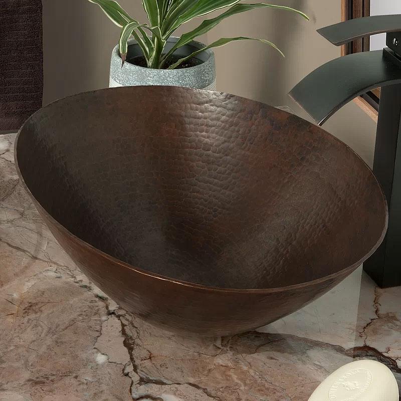 Bilboa Dark Copper Oval Vessel Bathroom Sink