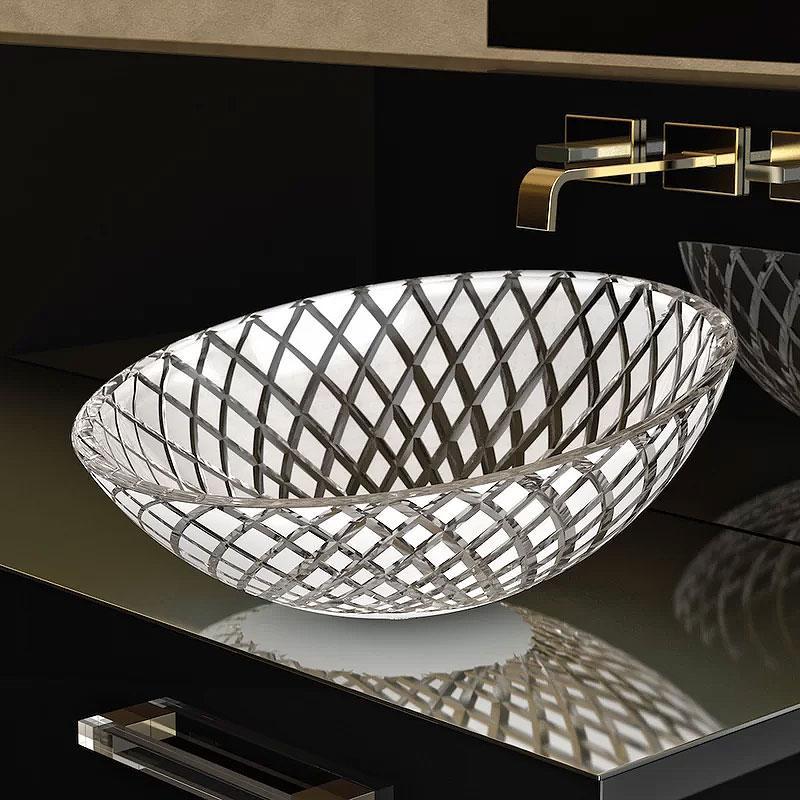 Contemporary Oval Cut Glass Vessel Bathroom Sink