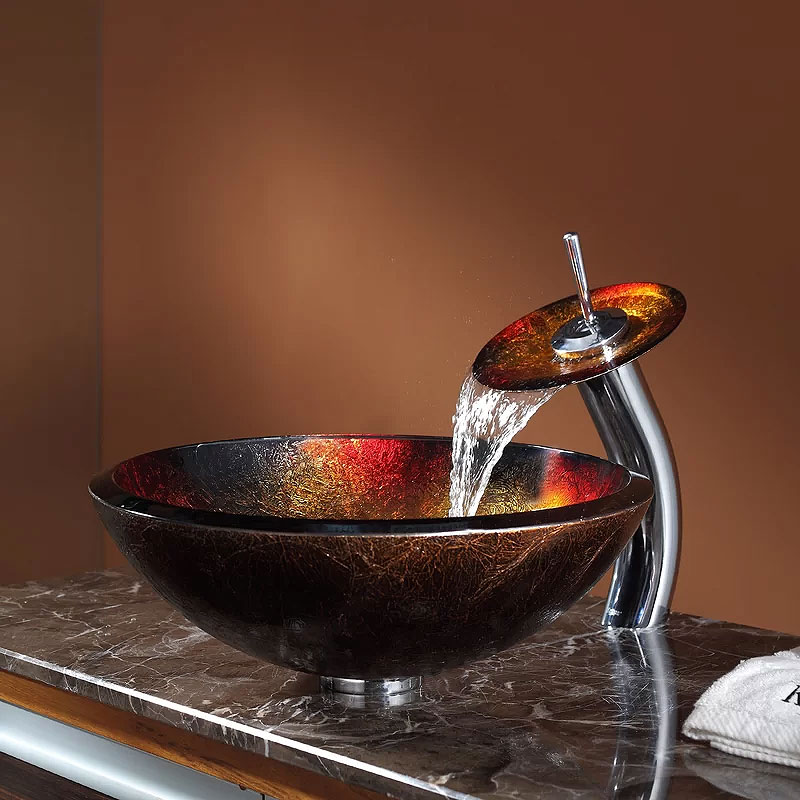 Copper Glass Circular Vessel Bathroom Sink