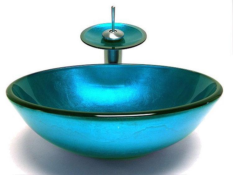 Fontana Victory Blue Glass Bowl Bathroom Sink