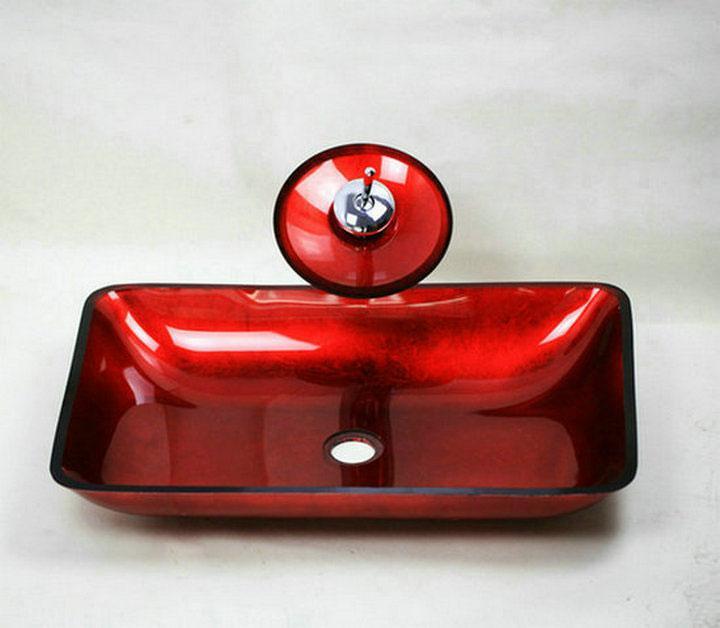 Rivera Tempered Glass Red Vessel Sink