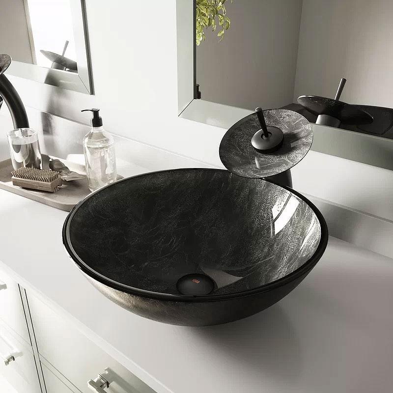 VIGO Tempered Glass Vessel Bathroom Sink