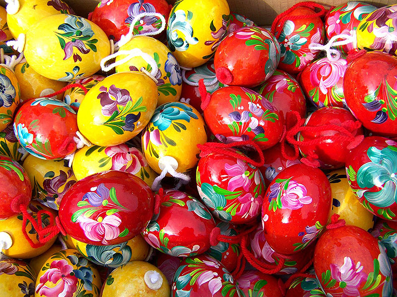 Bright & Colorful Red & Yellow Easter Eggs