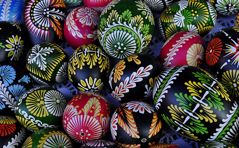 Colorful Hand-Painted Easter Eggs