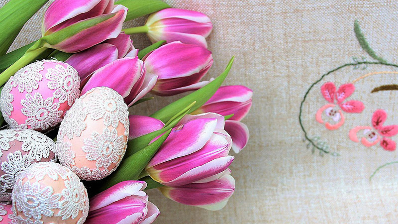 Lace Applique Painted Easter Eggs