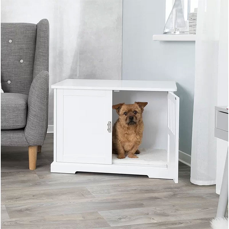 Godeus White Wooden Decorative Dog Crate