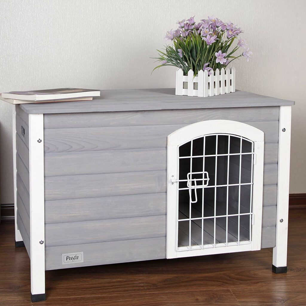 Grey & White Indoor Wooden Dog House with Wire Door
