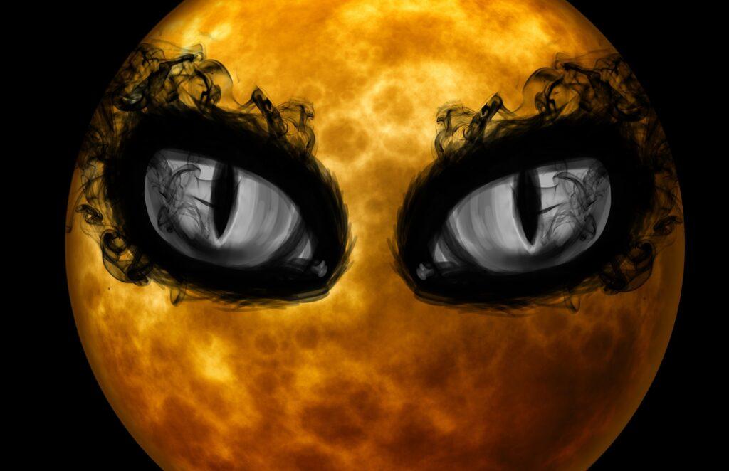 Moon with Creepy-Eyes | Print Your Own Halloween Art