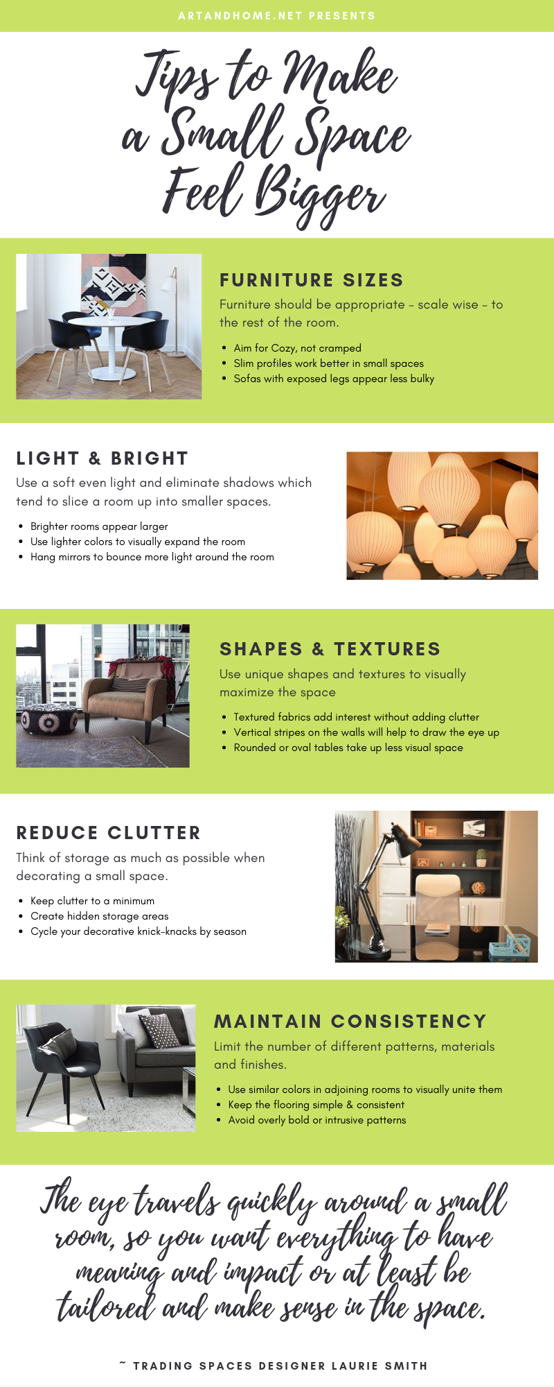 Small Space Tips  Home Decor Infographic