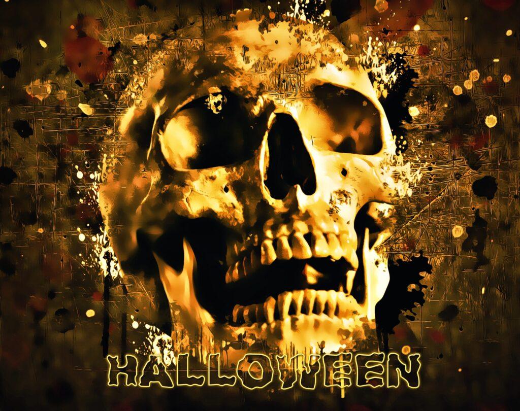 Splatter Skull Free Halloween Printable Sign
