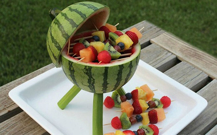 Summer Fruit Kabobs Served in Watermelon Bowl