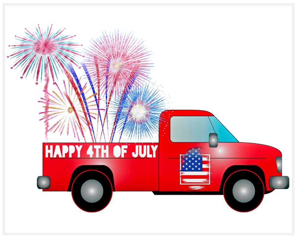 Pickup Truck Fireworks Printable