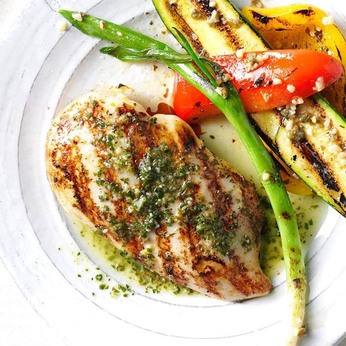 Grilled Chicken Breasts with Citrus Chimichurri Sauce