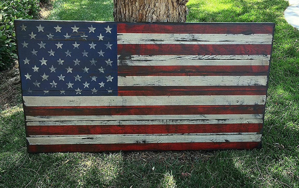 Large Distressed Rustic Wood American Flag