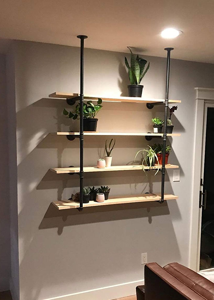 Ceiling Mounted Pipe Shelves