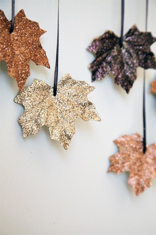 DIY Glittering Fallen Leaves Garland