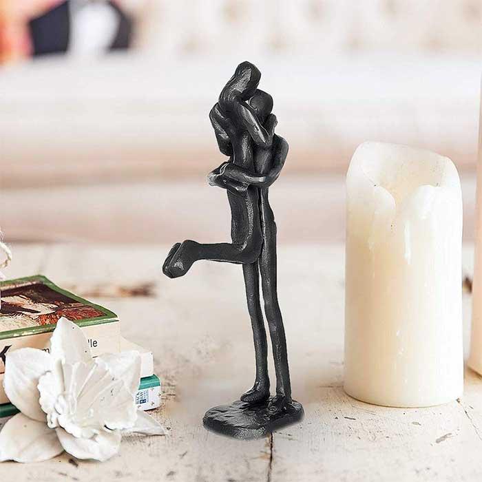 Embracing Couple Cast Iron Couple Sculpture