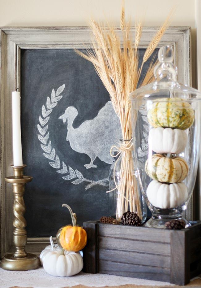 Framed Chalkboard Turkey DIY Fall Decor