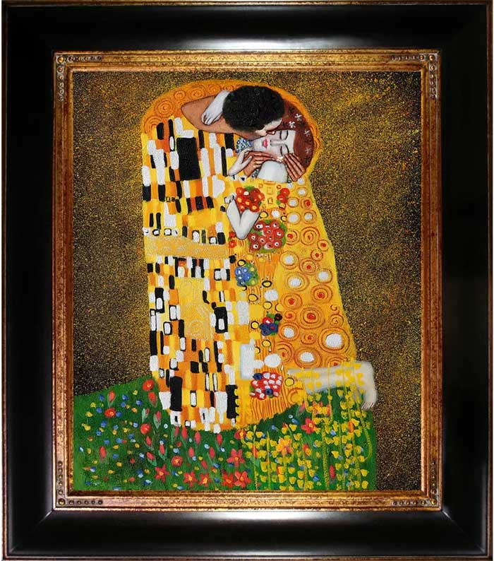 Gustav Klimt The Kiss Framed Painting