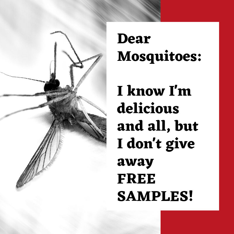 Dear Mosquitoes:  I know I'm delicious and all, but I don't give away FREE SAMPLES!  Meme