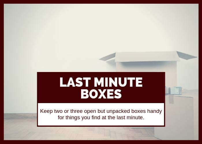 Moving Tip #20 Keep Last Minute Boxes Handy