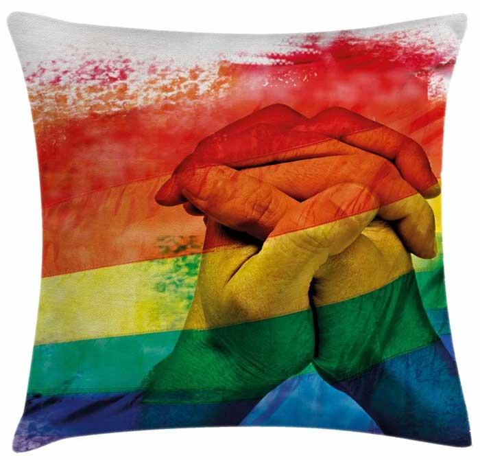 Pride Hands Romantic LGTB Rainbow Pillow