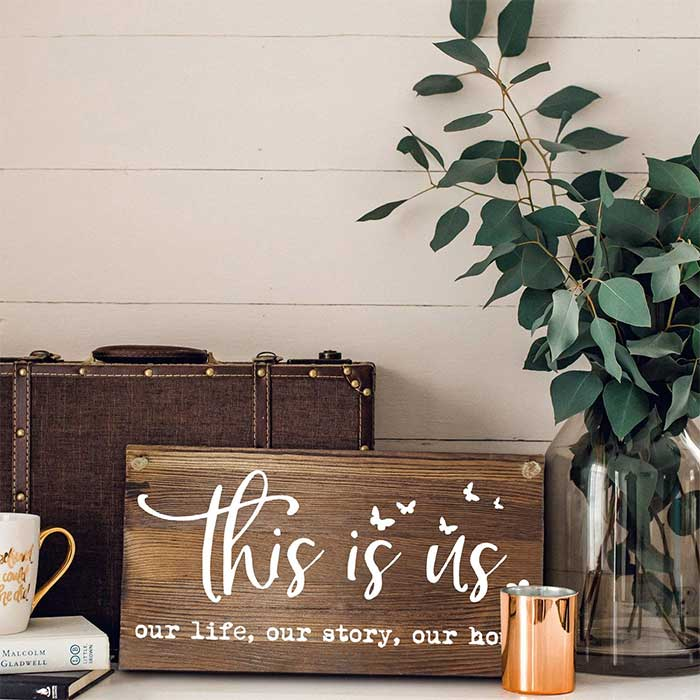 This is Us Rustic Solid Wood Couple Art Plaque
