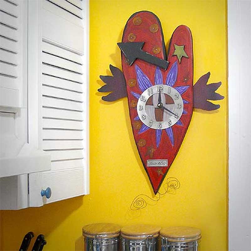 Time Flies Carved Wood Folk Heart Wall Clock