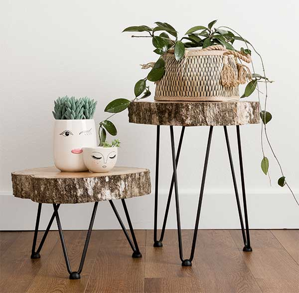 DIY Wood Slice & Hairpin Leg Accent Tables