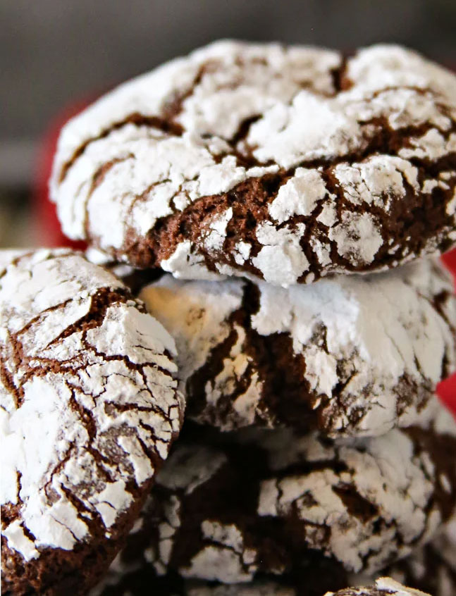 Christmas Chocolate Crinkle Cookies