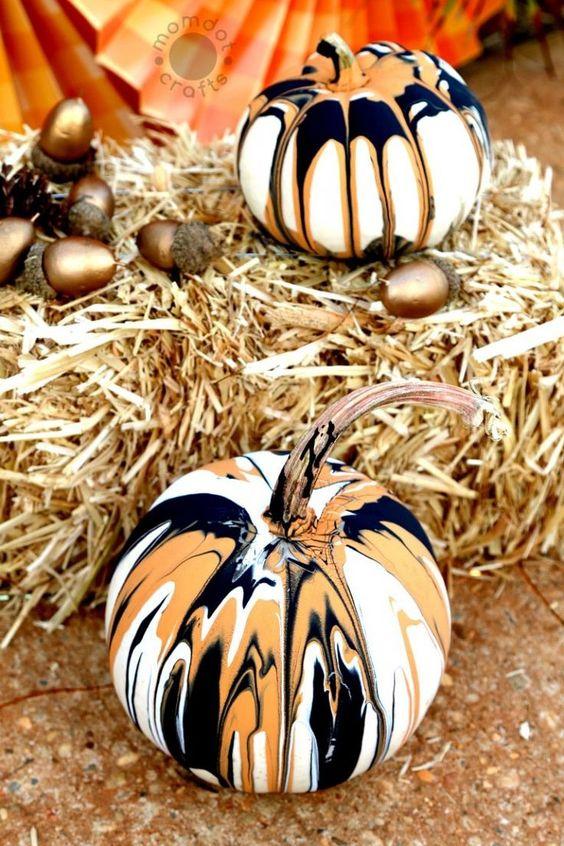 Drip Painting No Carve Pumpkins