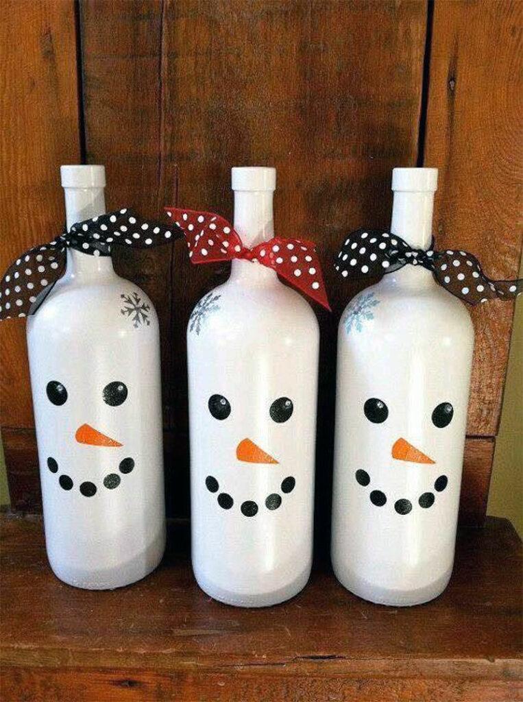 DIY Snowman Wine Bottles