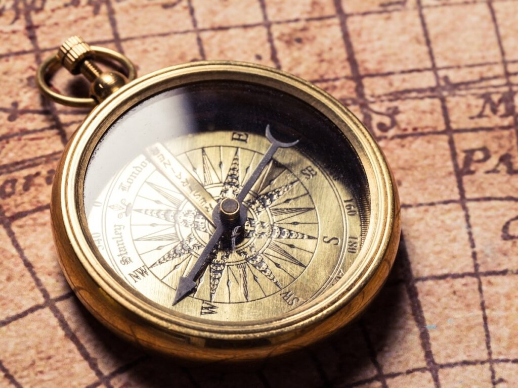 Compass Rose on a Vintage Map