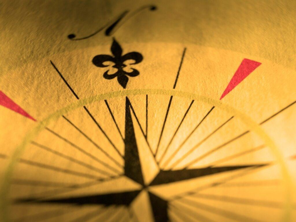 Compass Rose with Fleur de Lis